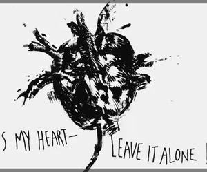 black and white, text, and heart image