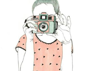 camera, pink, and drawing image