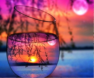 sunset, sun, and glass image