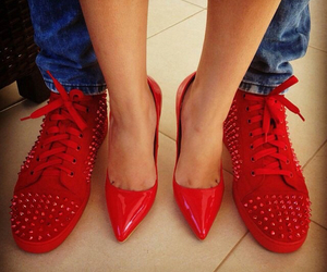 red, couple, and shoes image