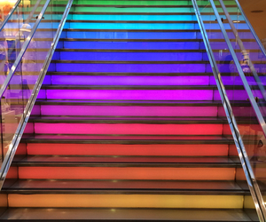 colors, rainbow, and stairs image