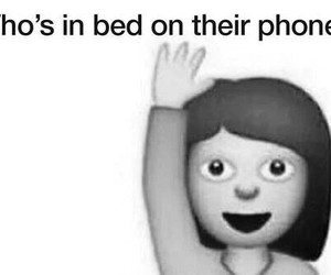 bed, phone, and funny image