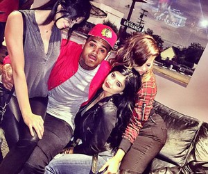 chris brown, kendall jenner, and khloe kardashian image