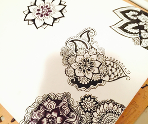 drawing, henna, and zentangle image