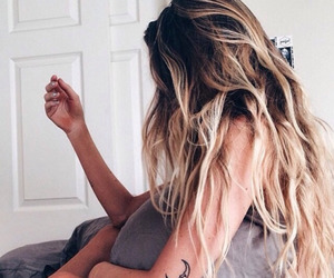 hair, girl, and tattoo image