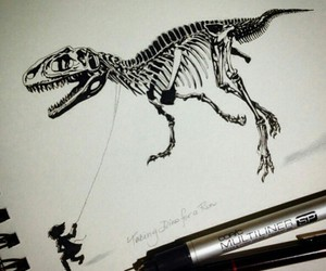art, black&white, and dinosaure image