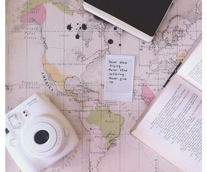 camera, map, and book image