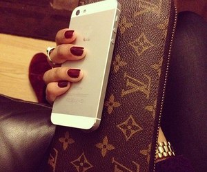 iphone, nails, and Louis Vuitton image