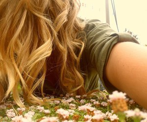 blonde hair, flowers, and pink flowers image