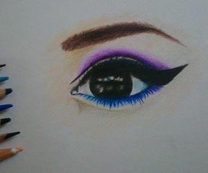drowing, pencils, and eye image