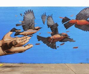 street art, birds, and paint image