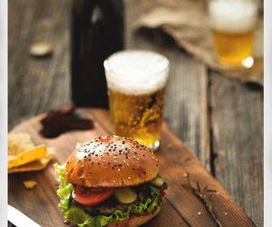 food, beer, and hamburger image