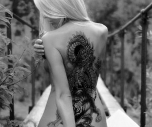 black and white, photography, and tatto girl image