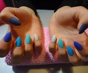 blue, nails, and matte image