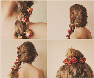 hair, pretty, and flowers image