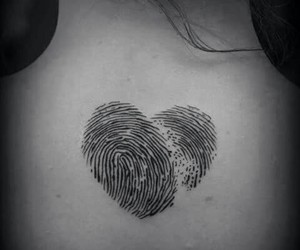 tattoo, heart, and fingerprint image