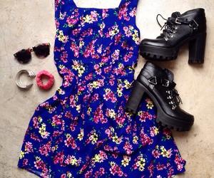 floral, floral dress, and floral print image