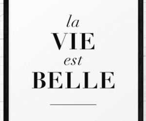 black and white, la vie est belle, and quote image