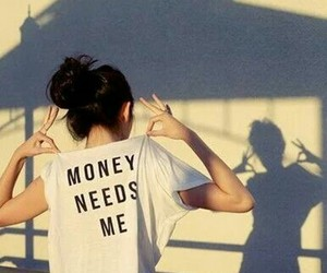 money, girl, and shirt image