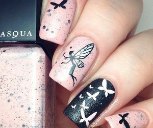 butterflies, nails, and pink image