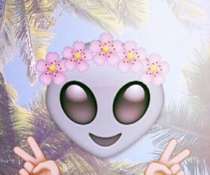 alien, flower crown, and palm trees image