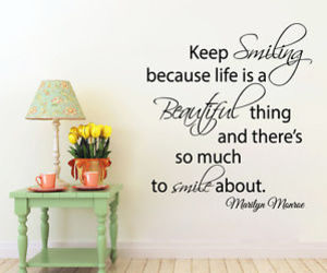 keep smiling, Marilyn Monroe, and wall decals image