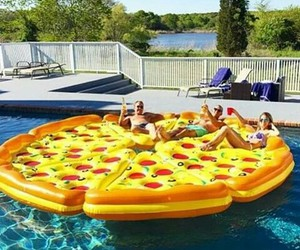 float, pizza, and pool image