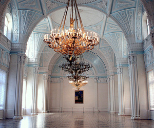 chandelier, blue, and architecture image
