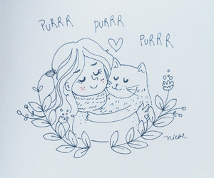 cat, girl, and romance image