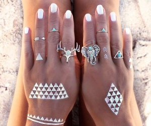 rings, tattoo, and hands image