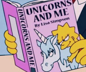 unicorn, book, and simpsons image