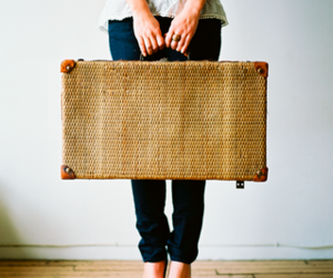 pink wallpaper: the vintage suitcase...