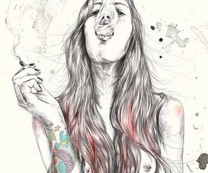 smoke, tattoo, and art image