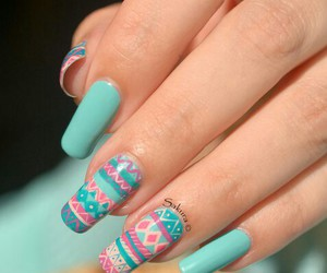 blue, mint green, and nails image