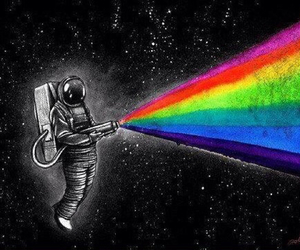 space, rainbow, and astronaut image