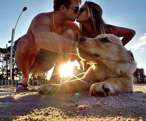 couple, kiss, and sun image