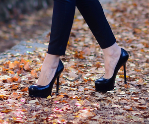 black, heels, and shoes image