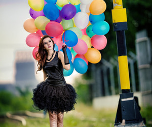 girl, balloons, and black and white image
