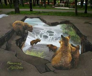 art, bear, and 3d image