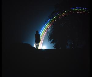 light, rainbow, and night image