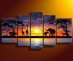 art, safari, and elephant image