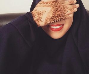 henna, smile, and hijab image