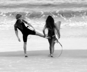surf, couple, and beach image