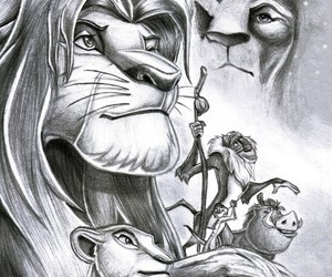 black and white, drawing, and lion king image