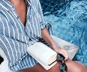 book, pool, and sunglasses image