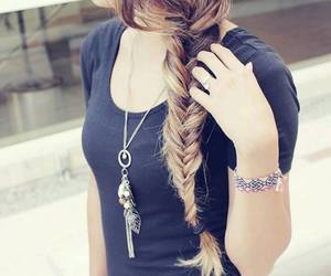 hair, braid, and outfit image