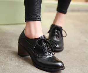 high heels, leather, and shoes image