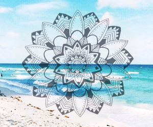 beach, mandala, and sand image