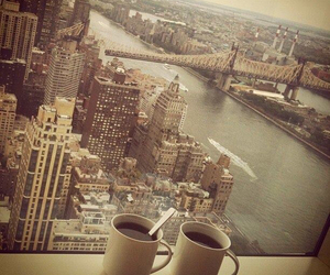 city, coffee, and morning image