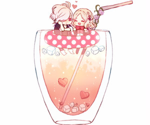 anime, couple, and glass image